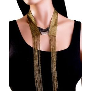 Fashion Plated and Draped Fringed Necklace